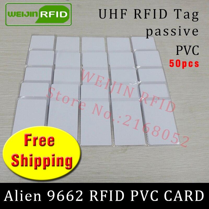 UHF RFID tag PVC card Alien 9662 915mhz 868mhz 860-960MHZ Higgs3 EPC ISO18000-6C 50pcs free shipping smart card passive RFID tag<br>