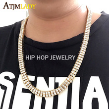 "Collares Top Fashion Collier Maxi Necklace 2017 20"" 24"" 30"" Hip Hop Bling Jewelry Double Raw Long Chain Mens Tennis Necklace(China)"