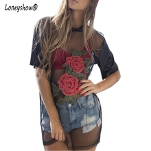 Buy Loneyshow 2017 New Summer Women Sexy Dress Short Sleeve Patchwork Embroidery Sexy Perspective Rose flowers net yarn Mini Dresses for $8.35 in AliExpress store