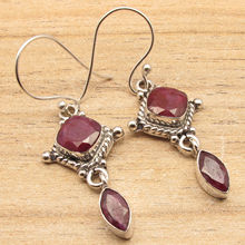 Exclusive Red rubi 2 Gem HANDCRAFTED Earrings !  Silver Overlay Jewelry 4.5 cm