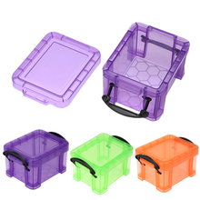 Candy Color Home Furnishing Mini Lock Box Table Storage Box Earrings Jewelry Organizer Plastic Storage Case Portable Organizer(China)