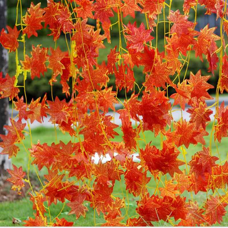 Artificial Ivy Red Leaf Garland Plant Vine Fake maple leaves Foliage Flower for Wedding Home Party Decoration 2.3m