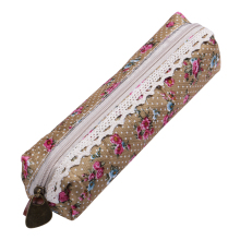 Unique Flower Floral Lace Pencil Pen Cases Makeup Bag Cosmetic Pouch Zipper Booknote School Tool(China)