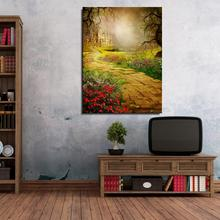 Brick road FLOWER House Castle Fog fairy tale Landscape Mediterranean Oil Painting Spray Home decor Canvas drawing Frameless