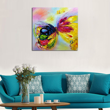 Handpainted Abstract Colorful Rainbow Butterfly Art Oil Painting On Canvas Best Gift Home Decor Hang Animal Pictures Wall Art(China)