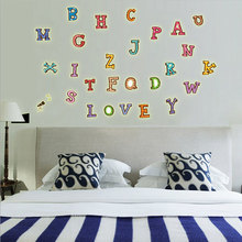 30*22cm PVC English Word ABC Luminous stickers Night Vision Wall Sticker For Living Room Kids Study Room Home Decor(China)