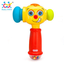 Kids Play & Learn Toy Hammer Electric Music Sound Play Hammer Funny Interactive Sound Effect Music Toys with Big Smile for Baby(China)
