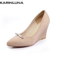 Buy KARINLUNA Women's Rhinestone High Heel Wedge Shoes Woman Pointed Toe party office lady Pumps shoes women Big Size 33-43 for $30.51 in AliExpress store