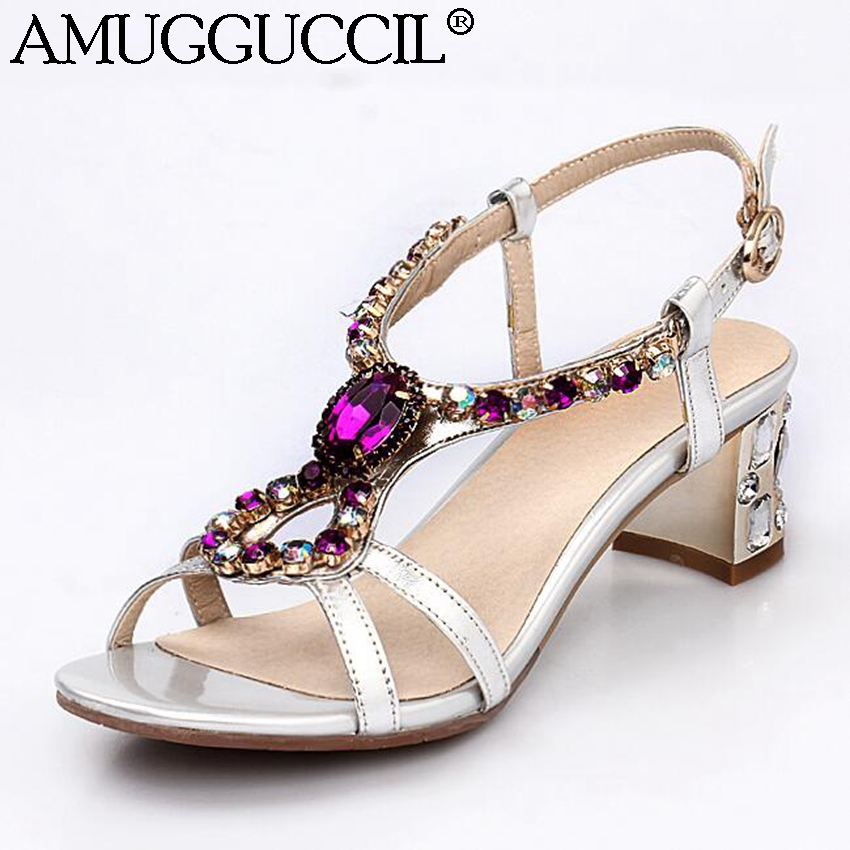 2017 New Genuine Leather Rhinestone Gold Silver Buckle Fashion Casual Mid Heel Summer Shoes Girl Female Lady Women Sandals L750<br><br>Aliexpress