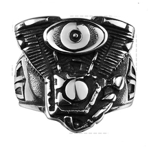 Fashion Brand Men Rings Skull Head Ring Stainless Steel Jewelry Men Rings Drive Engine Harley Motor Heavy Metal Party Men Ring