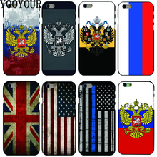 Yooyour Russian Flag  USA UK Flag hard plastic Cover Case For Apple iphone 4 4s 5 5s SE 5c 6 6S 6PLUS 7 7PLUS