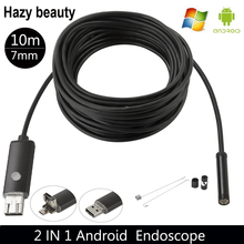Hazy beauty 7MM USB Endoscope Android Camera 2M/5M/10M Snake Tube Pipe Waterproof Smartphone PC Endoskop Inspection Borescope(China)