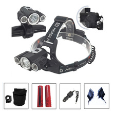 BIG SALE! Linterna frontal LED Headlamp 8000 Lumens Head lamp T6 3 LED Headlight head torch edc flashlight +battery+Car charger