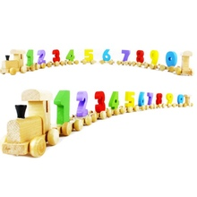 New Removable Wooden Number Train Traffic Vehicle 0-9 Figures Railway Model Kids Learning Educational Toys For Children Gifts M1(China)