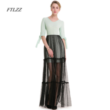 FTLZZ New Autumn Sweet Dress Women Tie Sleeve Patchwork Wave Lace Jacobs Big Swing Long Dress Women(China)