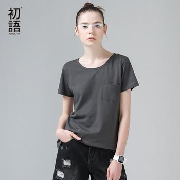 Clothing toyouth 2017 del verano nuevas mujeres de la llegada de algodón 100% camisetas del o-cuello sólido de manga corta tees base tops del todo-fósforo femenino