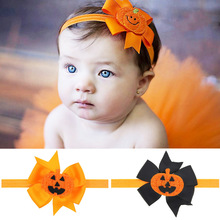10PCS/LOT Smiling Face Pumpkin Halloween Punk Hair Bow Headbands for Hair  Pumpkin Color Bow Halloween Hair Accessories DIY Gift