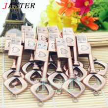 JASTER Metal heart key USB flash drive U disk heart-shaped copper key pendrive 4GB 8GB 16GB 32GB  pen drive menmory stick U disk