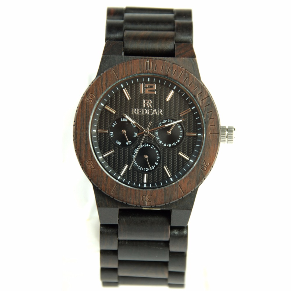 REDEAR Mens Wooden Watch Sandalwood Wood Quartz Wristwatches Analog Display For Male Clock<br>