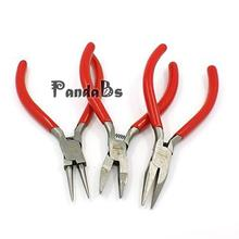 DIY Jewelry Pliers Sets, Including Flat-Nose, Round-Nose, Chain-Nose, 3 Pcs/set, Polishing, Carbon Steel, Red, Black,