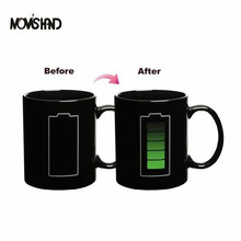 MOM'S HAND Originality Battery Pattern Color Cup With TheTemperature Change Coffee Tea Ceramic Mug(China)