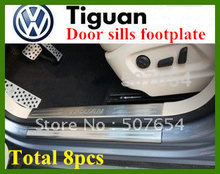 High quality stainless steel 8pcs door sills footplate,guard plates,protection bar with logo for Volkswagen Tiguan 2009-2015