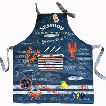 J S 77x70cm cotton kitchen Apron Woman Denim fabric Lobster Fish Crab Floral Cooking  Divertido Tablier Cuisine Pinafore  Salon