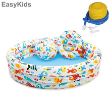 Inflatable Foldable Swimming Pool with Swim Ring Beach Ball Set Kids Water Play Mat Swim Rug Game Fun Toys For Baby Seaside