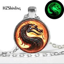 Glow in The Dark Dragon Necklace Mortal Kombat Pendant Glass Photo Jewelry Glowing Necklace Pendant(China)