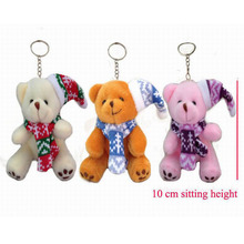 30 pcs/lot, H=10cm, W=30G, Plush Christmas tree teddy bear pendent,mixed 3 colors,Stuffed teddy bear Keychain, Christmas gift t