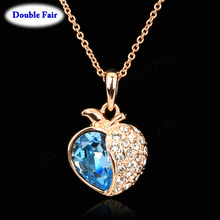 DWN050 Love Expression Blue Rhinestone Necklaces & Pendants Rose Gold Color Fashion Brand Jewelry Crystal Anti Allergy