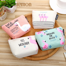 New Korean version fresh nice flamingo printing bag small change/headset storage bag Key case Portability Canvas zipper package