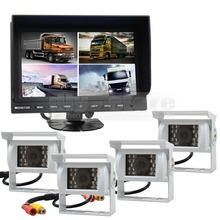 DIYSECUR 9 Inch Split Quad Display Rear View Monitor + White 4 x CCD Camera for Car Truck Bus Video Surveillance System