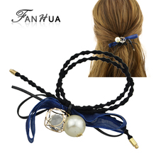 FANHUA  Fashion Plaits Hair Accessories Black Elastic Colorful Lace Bowknot Simulated Pearl Charm Headbands Headwear Accessories