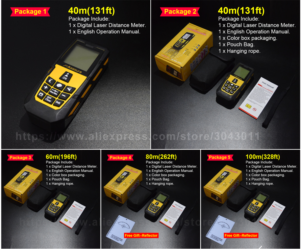 Laser Rangefinders Area/Volume/Distance/Pythagoras Portable Laser Distance Measurer 40m(131ft)60m(196ft)80m(262ft)100m(328ft)