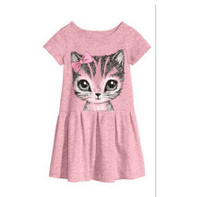 The girl's clothes in summer fashion dress Kitty comfortable cartoon design 3-7 year old girl's clothing in summer 2016 Dress ho