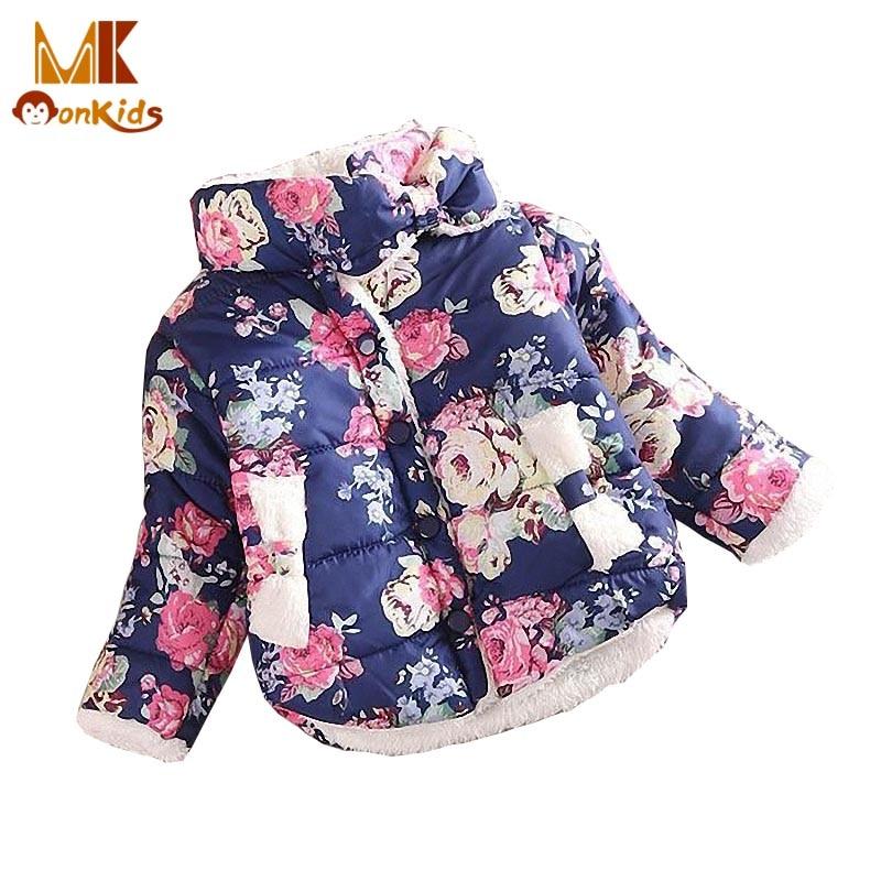 Monkids Girls Sweet Flower Winter Cotton-padded Jacket Children Padded Jacket Thick Jacket Childrens Clothing For GirlsОдежда и ак�е��уары<br><br><br>Aliexpress
