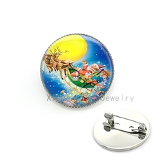 Bright color Father Christmas Santa Claus's Reindeer Sledge picture brooches jewelry women holiday brooch pins kids gift CM33