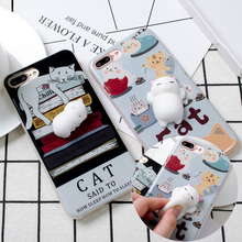 For iPhone 7 Case 3D Squishy Cat Cases Funny Cute Toy Soft Cover For Apple iPhone ayfon 6 6s 8 7 Plus i7 Phone Fundas Coque Capa(China)