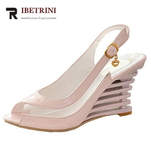 Big Size 34-43 Women Summer Transparent Jelly Shoes Wedges Buckle Up High Heels Peep Toe Less Platform Sandals Ladies Footwear