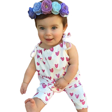 Newborn Girl Romper Cute Heart Baby One Pieces Rompers Kids Clothes Outfits 2017 Summer Suspender Infant Jumpsuit Girls Costumes
