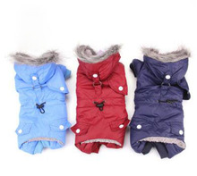 Free shipping Winter Warm Dog Cat Skiwear Fleece Lined Coat Puppy Kitten Jumpsuit Kitty Clothes Apparel Pet Jacket BO-W15308(China)