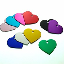 Wholesale 100Pcs Heart Shape Personalized Dog Cat ID Tags Customized Engraving Name Phone No. For Dog ID Tag Collar Accessories(China)