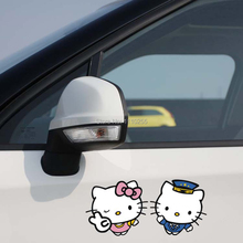 A Pair of Lover Hello Kitty Lovely Car Stickers Car Decal for Toyota Ford Chevrolet Volkswagen Tesla Honda Hyundai Kia Lada(China)