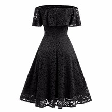 Off The Shoulder Sexy Lace Vintage Dress For Women Slash Neck rockabilly Robe High Waist Big Swing Plus Size Ladies Summer Dress