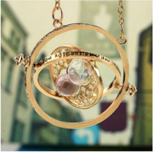 Hermione Granger Rotating Time Turner Necklace Gold Hourglass 1pc(China)