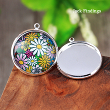New Arrive 5pcs 25mm Silver Plated  Cameo Settings Cabochon Base Brass Copper Blank Tray Pendant Charms