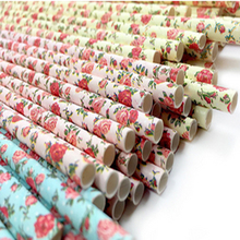 Disposable drinking paper straw Vintage Floral Straws Biodegradable Drinking Paper Straws for Christmas Decoration Wedding Event(China)