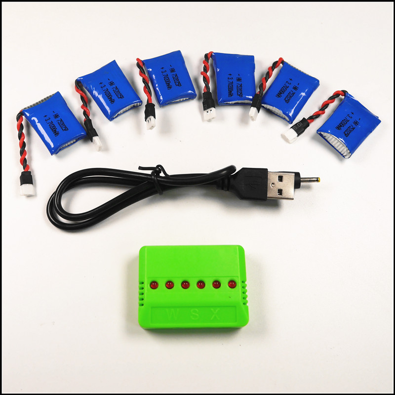 6pcs Syma X11 3.7V 200mAh battery with USB charger syma x4 x13 Quadcopter rc Parts<br><br>Aliexpress