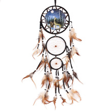 Dream Catcher with feather wolf wall hanging decoration ornament great gift Room Decor adesivos para parede Dreamcatcher wolf(China)